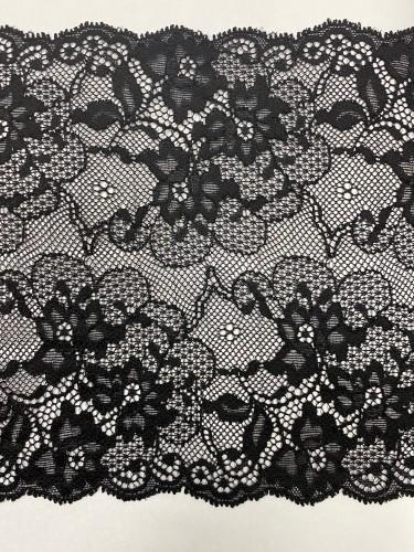 11233 Кружево эластичное полиэстер шир.17см цв.черный(в упак.30м)