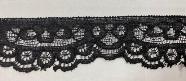 11651 Кружево гипюровое полиэстер шир 4см цв.черный(в упак.30м)
