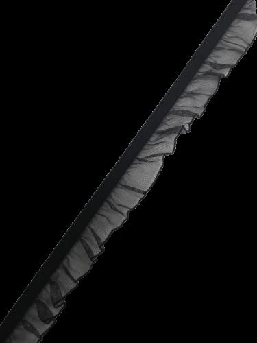 0250KPO Бельевая резинка с рюшем 20мм цв.черный(в рул.100м)