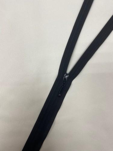 Молния спираль Т3 потайная 60см неразъемная бегунок черный цв.черный(в упак.100шт)