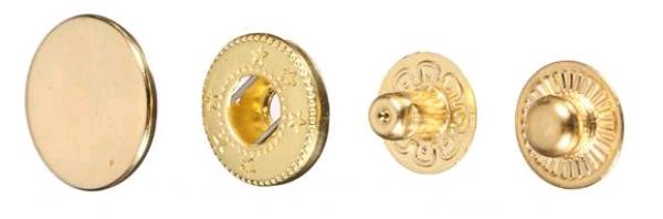 Кнопка стальная Alfa 15мм цв.золото(в упак.720шт)