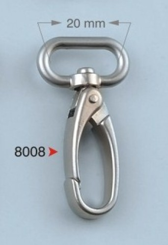 8008 Карабин 2см цв.никель(в упак.100шт)