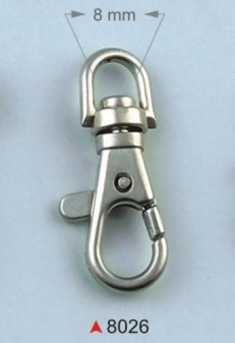 8026 Карабин 0,8см цв.никель (в упак.100шт)