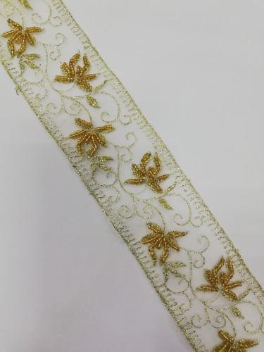 H0107-3 Кружево расшитое цв.золотой(в упак.13,7м)