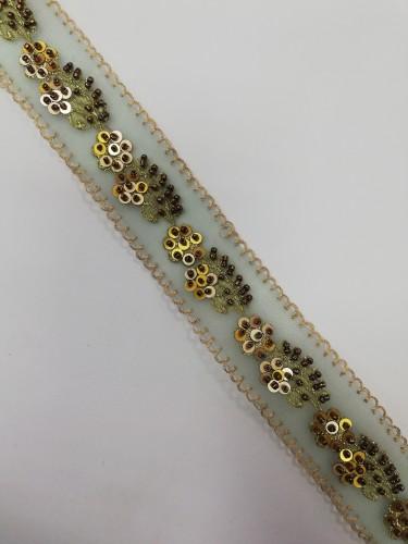 L119 Кружево расшитое цв.золотой(в упак.18,3м)