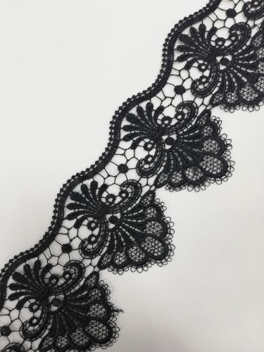 10376MR Кружево вязаное цв.черный(в упак.13,5м)
