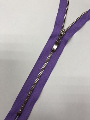 Молния металлическая Т5 декоративная 23см неразъемная никель цв.№167 фиолетовый(в упак.100шт)