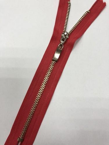 Молния металлическая Т5 декоративная 21см неразъемная никель цв.№147 красный(в упак.100шт)