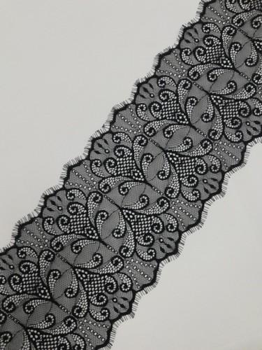 035А Кружево реснички шир.18см цв.черный(в упак.30м)