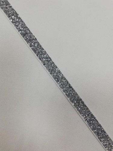 Бархатная лента декоративная №2 10мм цв.серебро(в рул.182,88м)
