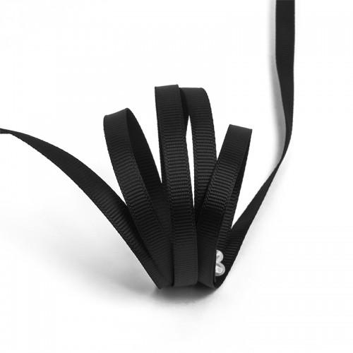 Репсовая лента блестящая 07мм цв.черный(в рул.100м)