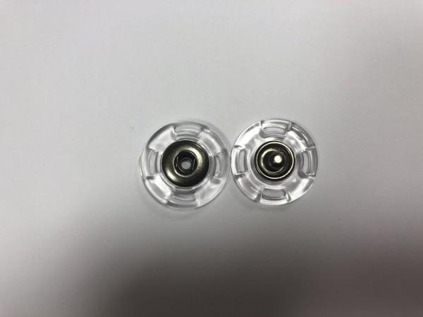 Кнопка пришивная прозрачная 23мм цв.ч.никель(в упак.500шт)