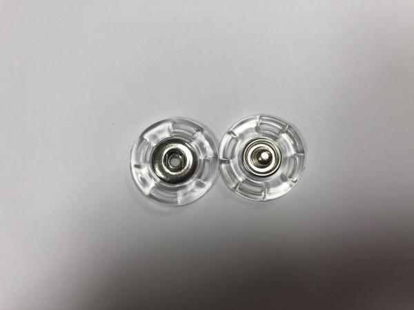 Кнопка пришивная прозрачная 23мм цв.никель(в упак.500шт)