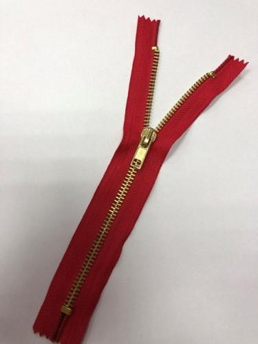 Молния джинсовая Т5 18см неразъемная золото цв.№148 красный(в упак.100шт)