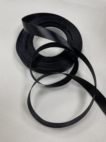 322 Атласная лента 12мм цв.черный(в рул.33м)