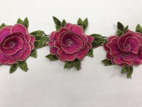 1606 Нашивка с цветами в рулоне цв.145 фуксия