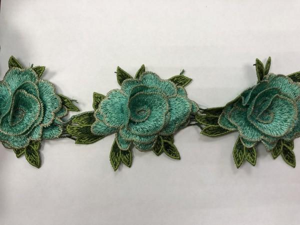 1606 Нашивка с цветами в рулоне цв.249 мята