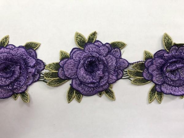 1607 Нашивка с цветами в рулоне цв.171 фиолетовый(в упак.14,5м)