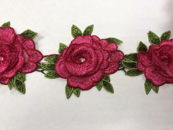 1607 Нашивка с цветами в рулоне цв.144 розовый(в упак.16,5м)