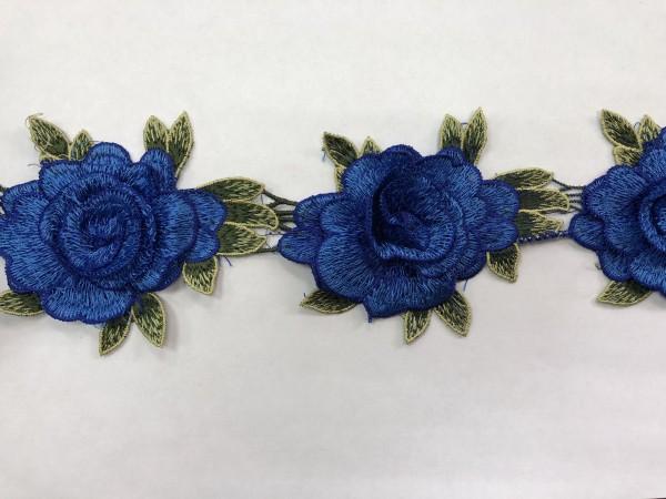 1607 Нашивка с цветами в рулоне цв.223 электрик(в упак.14,5м)