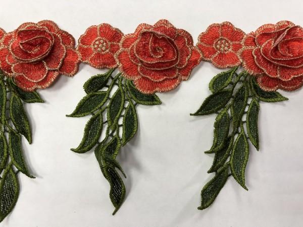 1608 Нашивка с цветами в рулоне цв.161 кирпич(в упак.9м)