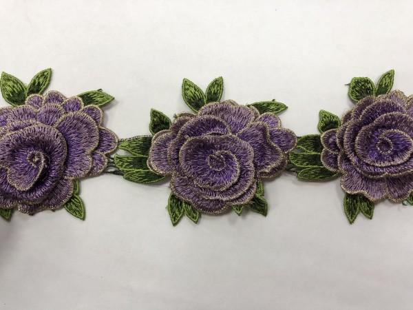 1606 Нашивка с цветами в рулоне цв.167 сиреневый