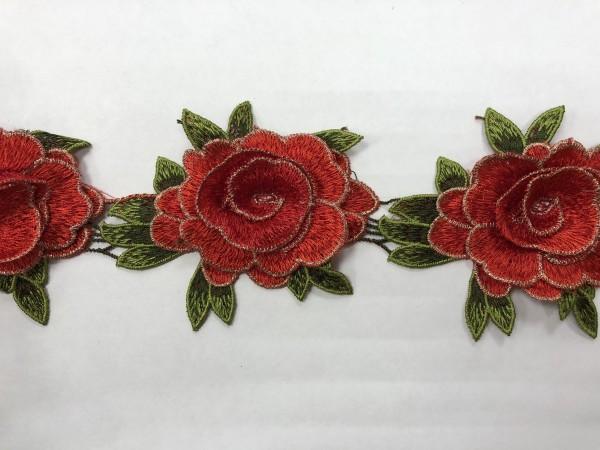 1606 Нашивка с цветами в рулоне цв.162 красный