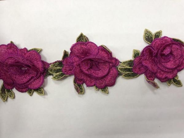 1607 Нашивка с цветами в рулоне цв.145 фуксия(в упак.16,5м)