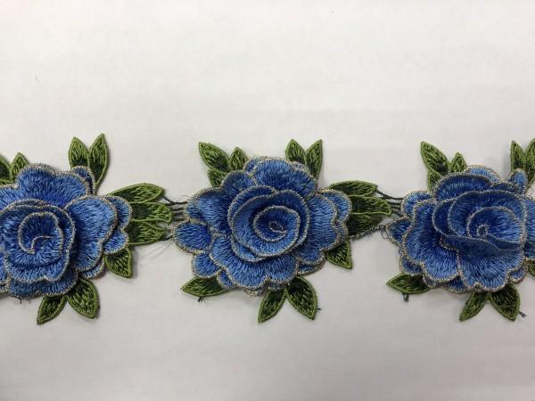 1606  Нашивка с цветами в рулоне цв.168 голубой