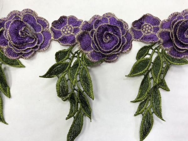 1608 Нашивка с цветами в рулоне  цв.171 фиолетовый(в упак.9м)