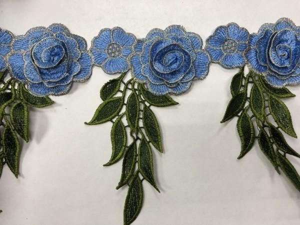 1608 Нашивка с цветами в рулоне цв.168 голубой(в упак.9м)