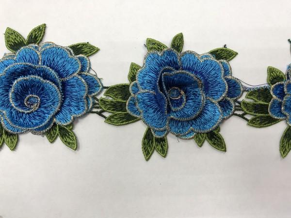 1606 Нашивка с цветами в рулоне цв.216 светло-синий
