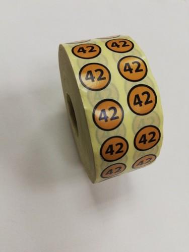 42 Размерники на самоклеящейся бумаге цв.желтый(в рул.5000шт)