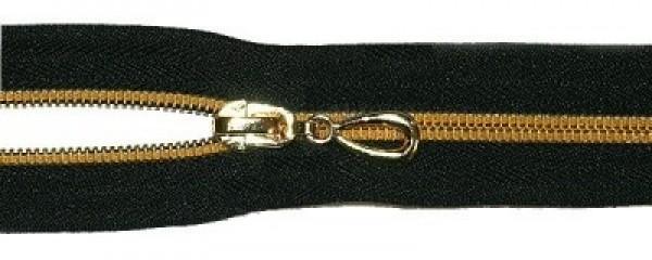 Молния спираль Т7 декоративная 18см неразъемная золото цв.№322 черный(в упак.100шт)