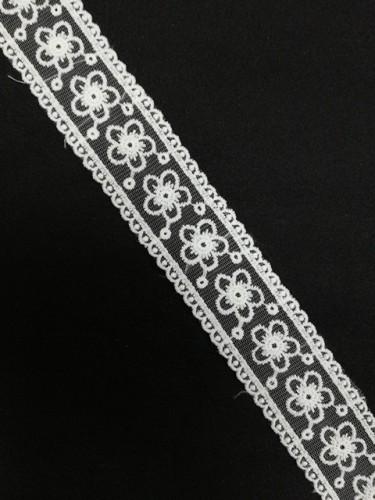 1047XL Кружево на сетке шир.4см цв.белый(в упак.13,72м)