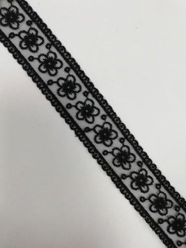 1047XL Кружево на сетке шир.4см цв.черный(в упак.13,72м)