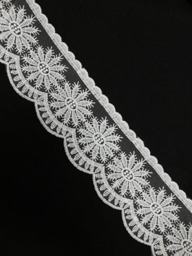 1233XL Кружево на сетке шир.8,5см цв.белый(в упак.13,72м)