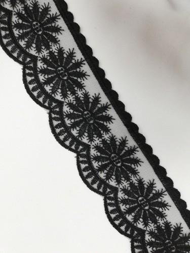 1233XL Кружево на сетке шир.8,5см цв.черный(в упак.13,72м)