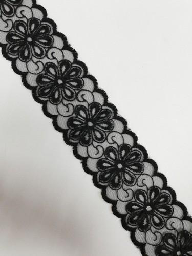 1057XL Кружево на сетке шир.6,5см цв.черный(в упак.13,72м)