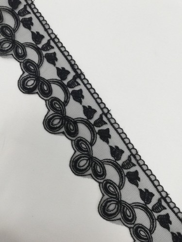 1228XL Кружево на сетке шир.7см цв.черный(в упак.13,72м)
