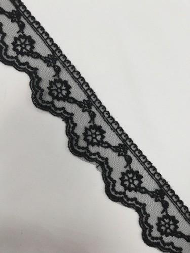 1045XL Кружево на сетке шир.5см цв.черный(в упак.13,72м)