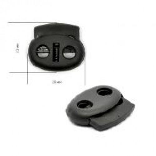 Фиксатор пластиковый двухдырочный большой плоский цв.черный(в упак.1000шт)