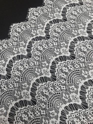 8012А Кружевное полотно-реснички шир.1,5м цв.белый(в рул.100м)
