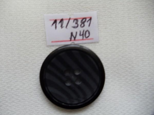 11/381 Пуговица №40 25мм цв.черный(в упак.500шт)