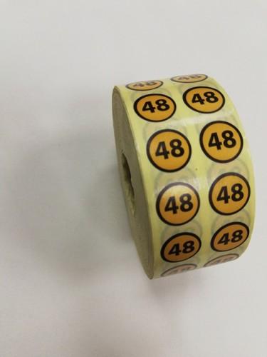48 Размерники на самоклеящейся бумаге цв.желтый(в рул.5000шт)