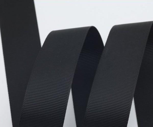 Репсовая лента матовая 20мм цв.черный(в рул.50м)