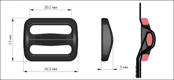 Рамка двухщелевая пластиковая 20мм цв.черный(в упак.5000шт)