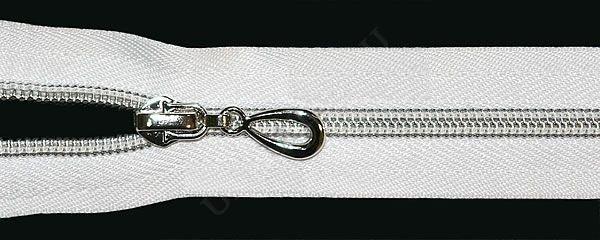 Молния спираль Т7 декоративная 80см серебро цв.№101 белый(в упак.50шт)