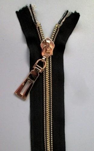 Молния спираль Т10 декоративная 85см золото цв.№322 черный(в упак.50шт)