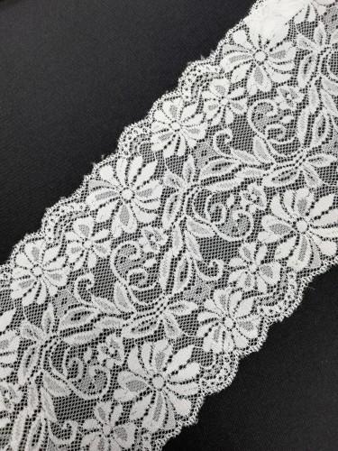 0901-461 Кружево эластичное полиэстер шир.16см цв.белый(в упак.30м)